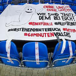 Handball, 31. Spieltag: MT Melsungen vs Die Eulen Ludwigshafen am 27.05.2021 in der Rothenbach-Halle in Kassel<br /> <br /> <br /> Plakat / Banner der Melsungen Fans über die gesperrten Sitze beim Spiel in der Handball Bundesliga, MT Melsungen - Die Eulen Ludwigshafen.<br /> <br /> Foto © PIX-Sportfotos *** Foto ist honorarpflichtig! *** Auf Anfrage in hoeherer Qualitaet/Aufloesung. Belegexemplar erbeten. Veroeffentlichung ausschliesslich fuer journalistisch-publizistische Zwecke. For editorial use only.
