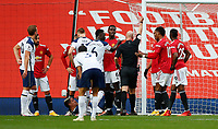 Football - 2020 / 2021 Premier League - Manchester United  vs Tottenham Hotspur - Old Trafford<br /> <br /> Anthony Martial of Manchester United is sent off as Erik Lamela of Tottenham Hotspur lies on the ground at Old Trafford<br /> <br /> COLORSPORT/LYNNE CAMERON