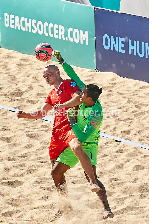 NAZARE, PORTUGAL - SEPTEMBER 3: Glenn Hodel of Switzerland and German Salazar of France during day 2 of the Euro Beach Soccer League Superfinal at Estadio do Viveiro on September 3, 2020 in Nazare, Portugal. (Photo by Jose Manuel Alvarez/BSWW)
