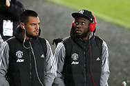 Romelu Lukaku of Manchester Utd (r) arrives at the stadium. EFL Carabao Cup 4th round match, Swansea city v Manchester Utd at the Liberty Stadium in Swansea, South Wales on Tuesday 24th October 2017.<br /> pic by  Andrew Orchard, Andrew Orchard sports photography.