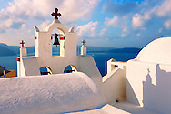 Oia, ( Ia )  Santorini - Bell tower of Byzantine Orthodax churches, - Greek Cyclades islands - Photos, pictures and images .<br /> <br /> If you prefer to buy from our ALAMY PHOTO LIBRARY  Collection visit : https://www.alamy.com/portfolio/paul-williams-funkystock/santorini-greece.html<br /> <br /> Visit our PHOTO COLLECTIONS OF GREECE for more photos to download or buy as wall art prints https://funkystock.photoshelter.com/gallery-collection/Pictures-Images-of-Greece-Photos-of-Greek-Historic-Landmark-Sites/C0000w6e8OkknEb8