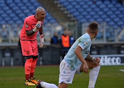 December 23, 2017 - Rome, Italy - Ciro Immobile and Alex Cordaz during the Italian Serie A football match between S.S. Lazio and Crotone at the Olympic Stadium in Rome, on december 23, 2017. (Credit Image: © Silvia Lore/NurPhoto via ZUMA Press)