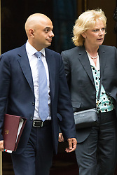 Downing Street, London, June 2nd 2015. Sajid Javid, Secretary of State for Business, Innovation and Skills leaves 10 Downing Street following the weekly meeting of the Cabinet, with Anna Soubry, Minister for Small Business, Industry and Enterprise