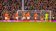 Dejected players of Brighton and Hove Albion during the Sky Bet Championship match at Craven Cottage, London<br /> Picture by Richard Brooks/Focus Images Ltd 07947656233<br /> 02/01/2017
