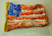 National Gallery, Washington DC. Sculpture of US Flag by Claes Oldenberg