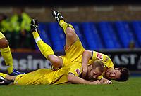 Photo: Ashley Pickering.<br />Ipswich Town v Preston North End. Coca Cola Championship. 17/10/2006.<br />Liam Chilvers celebrates scoring the second for Preston