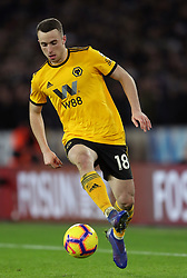 """Wolverhampton Wanderers' Diogo Jota during the Premier League match at Molineux, Wolverhampton. PRESS ASSOCIATION Photo. Picture date: Tuesday January 29, 2019. See PA story SOCCER Wolves. Photo credit should read: David Davies/PA Wire. RESTRICTIONS: EDITORIAL USE ONLY No use with unauthorised audio, video, data, fixture lists, club/league logos or """"live"""" services. Online in-match use limited to 120 images, no video emulation. No use in betting, games or single club/league/player publications."""