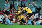 Motu Matu'u celebrates his try. Waratahs v Hurricanes. 2012 Super Rugby round 15 match. Allianz Stadium, Sydney Australia on Saturday 2 June 2012. Photo: Clay Cross / photosport.co.nz