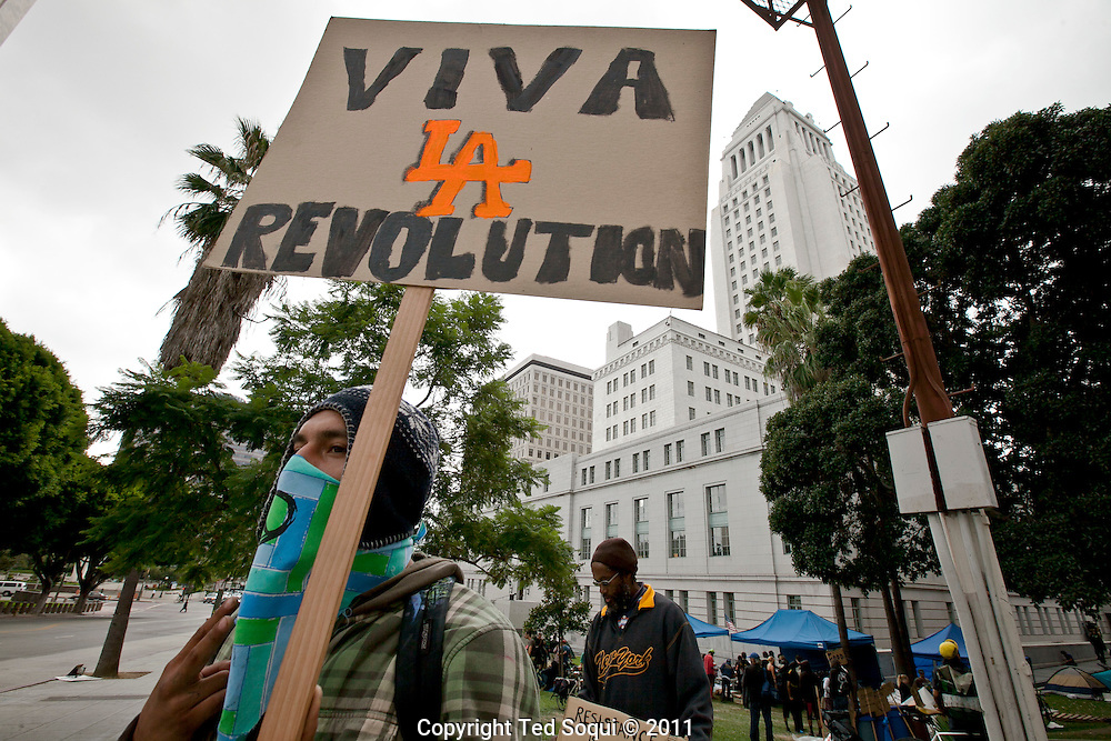 Occupy LA in Los Angeles. Hundreds of protesters are sleeping on the lawn of LA City Hall to protest corporate greed.