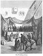The Marriage at Cana [John 2:5-7] From the book 'Bible Gallery' Illustrated by Gustave Dore with Memoir of Dore and Descriptive Letter-press by Talbot W. Chambers D.D. Published by Cassell & Company Limited in London and simultaneously by Mame in Tours, France in 1866