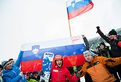 Zan Kosir of Slovenia celebrates with his fan club after placed second during Men's Parallel Giant Slalom at FIS World Championships of Snowboard and Freestyle 2015, on January 23, 2015 at the WM Piste in Kreischberg, Austria. Photo by Vid Ponikvar / Sportida