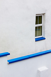 White house with blue trim, Dooagh, Achill Island, County Mayo, Ireland