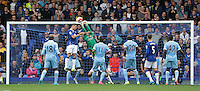 Manchester City's Joe Hart punches clear from Everton's Phil Jagielka in the last minutes of the match<br /> <br /> Photographer Stephen White/CameraSport<br /> <br /> Football - Barclays Premiership - Everton v Manchester City - Sunday 23rd August 2015 - Goodison Park - Liverpool<br /> <br /> © CameraSport - 43 Linden Ave. Countesthorpe. Leicester. England. LE8 5PG - Tel: +44 (0) 116 277 4147 - admin@camerasport.com - www.camerasport.com