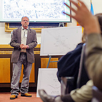 031314       Cable Hoover<br /> <br /> Department of Transportation engineer Mark Fahey listens to community concerns during a presentation at City Hall  Thursday about DOT plans for the underground bridge in downtown Gallup.