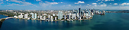Aerial panoroma view of Brickell and downtown Miami waterfront. This version is watermarked, contact us to license and clean version.