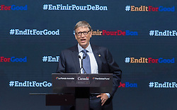 Billionaire philanthropist Bill Gates addresses the audience during the closing ceremony at the Global Fund conference Saturday, on September 17, 2016 in Montreal, QC, Canada. Photo by Paul Chiasson/The Canadian Press/ABACAPRESS.COM