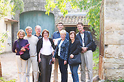 Group of visiting wine enthusiasts. Domaine de Terre Megere, Cournonsec, Montpellier. Gres de Montpellier. Languedoc. France. Europe.