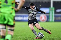 Ospreys' Sam Davies kicks a penalty<br /> <br /> Photographer Craig Thomas/Replay Images<br /> <br /> EPCR Champions Cup Round 4 - Ospreys v Northampton Saints - Sunday 17th December 2017 - Parc y Scarlets - Llanelli<br /> <br /> World Copyright © 2017 Replay Images. All rights reserved. info@replayimages.co.uk - www.replayimages.co.uk