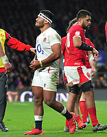 Rugby Union - 2020 Guinness Six Nations Championship - England vs. Wales<br /> <br /> Manu Tuilagi of England is sent off for a challenge on George North , who was diving for the line, at Twickenham.<br /> <br /> COLORSPORT/ANDREW COWIE