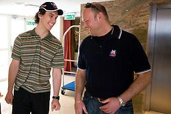 Ales Sila and Andrej Hebar st. at meeting of Slovenian Ice-Hockey National team, on April 15, 2010, in Hotel Lev, Ljubljana, Slovenia.  (Photo by Vid Ponikvar / Sportida)