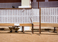 © Licensed to London News Pictures. 29/06/2013. Segou,  Mali.  Men and women in the southern Malian city of Segou check the voting register which has been spread across the walls of a local hotel.   These registers are displayed as news broke today (28 Jun 13) that the president of Mali's election, Mamadou Diamountani  has raised doubts over its ability to stage presidential polls.  The elections are seen as essential to restoring democracy to the conflict-scarred country on the planned date of July 28.<br /> <br /> A caretaker government announced the vote last month, raising a number of urgent questions over the possibility of free and fair elections in a nation recovering from a coup that paved the way for Islamist rebels to seize control of the north.     Photo credit: Alison Baskerville/LNP