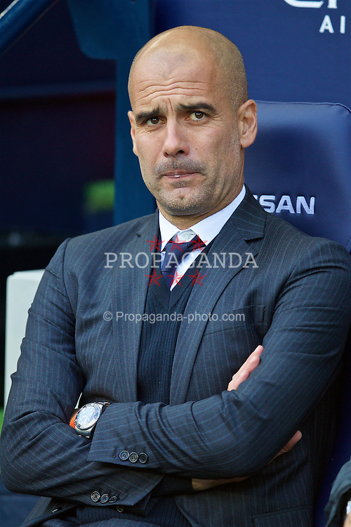 MANCHESTER, ENGLAND - Saturday, October 15, 2016: Manchester City's manager Pep Guardiola before the FA Premier League match against Everton at the City of Manchester Stadium Lane. (Pic by David Rawcliffe/Propaganda)