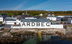 Aerial view from drone of Ardbeg scotch whisky distillery at Kildalton on Islay , Inner Hebrides , Scotland, UK