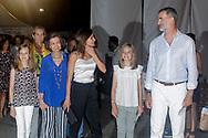 King Felipe, Queen Letizia, Queen Sofia, Princess Elena princess Sofia, princess Leonor and Princess Irene of Greece attend Ara Malikian concert at Port Adriano in Palma de Mallorca, Spain on 1st of August of 2018.