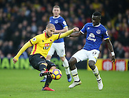 Watford's Adlene Guedioura tussles with Everton's Idrissa Gueye during the Premier League match at Vicarage Road Stadium, London. Picture date December 10th, 2016 Pic David Klein/Sportimage