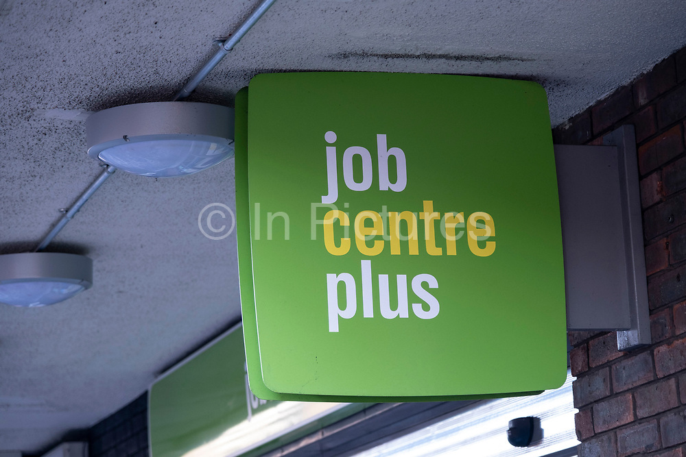 Sign outside the Job Centre Plus in Kings Heath on 31st December 2020 in Birmingham, United Kingdom. Jobcentre Plus is the part of the Department for Work and Pensions which delivers working-age support service in the United Kingdom. From 2002 to 2011, it was an executive agency which reported directly to the Minister of State for Employment.