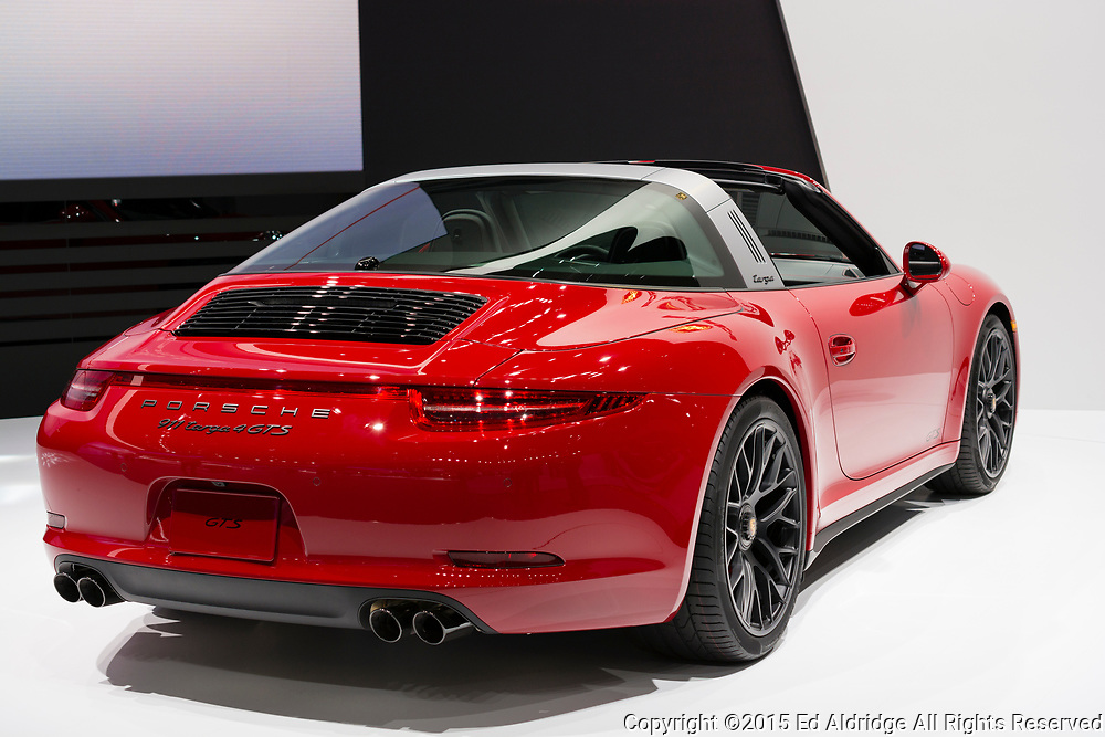 DETROIT, MI, USA - JANUARY 12, 2015: Porsche 911 Targa 4 GTS on display during the 2015 Detroit International Auto Show at the COBO Center in downtown Detroit.