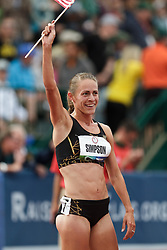 Olympic Trials Eugene 2012: women's 1500 meters final, Jenny Simpson raises flag after making Olympic team