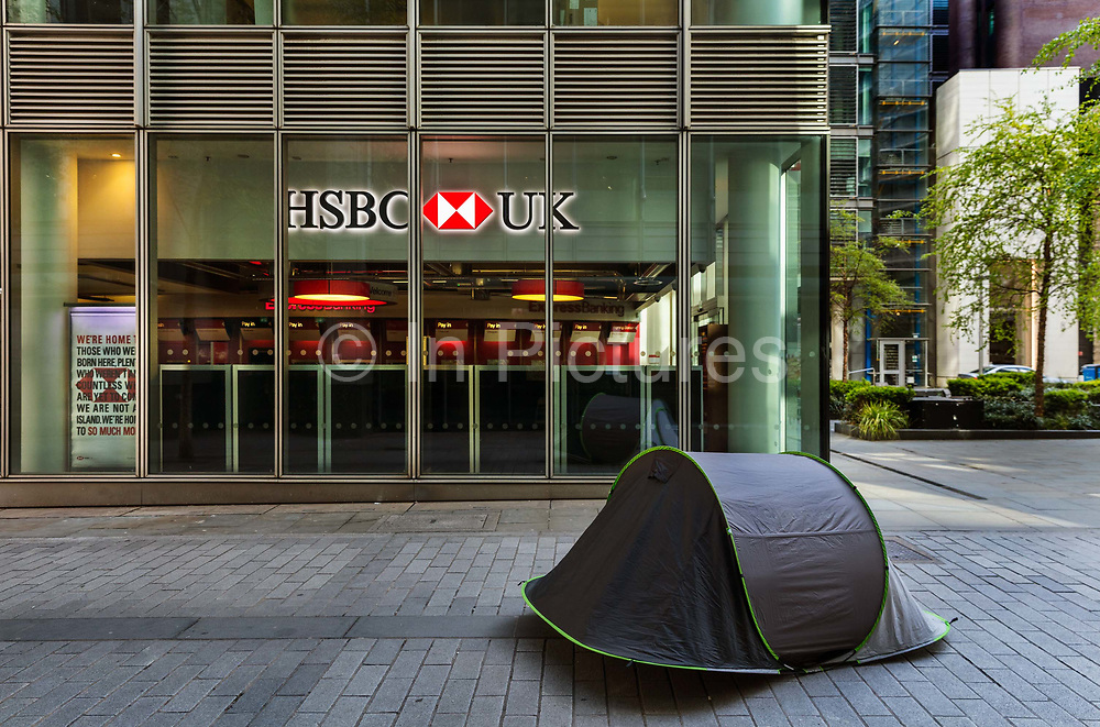 Homeless person camping outside the HSBC bank in Fenchurch Street during the coronavirus pandemic on the 2nd May 2020 in London, United Kingdom.
