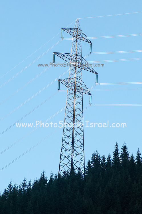 Electric pylon conducting electric power from the hydroelectric plant at Hintersee, Tirol, Austria
