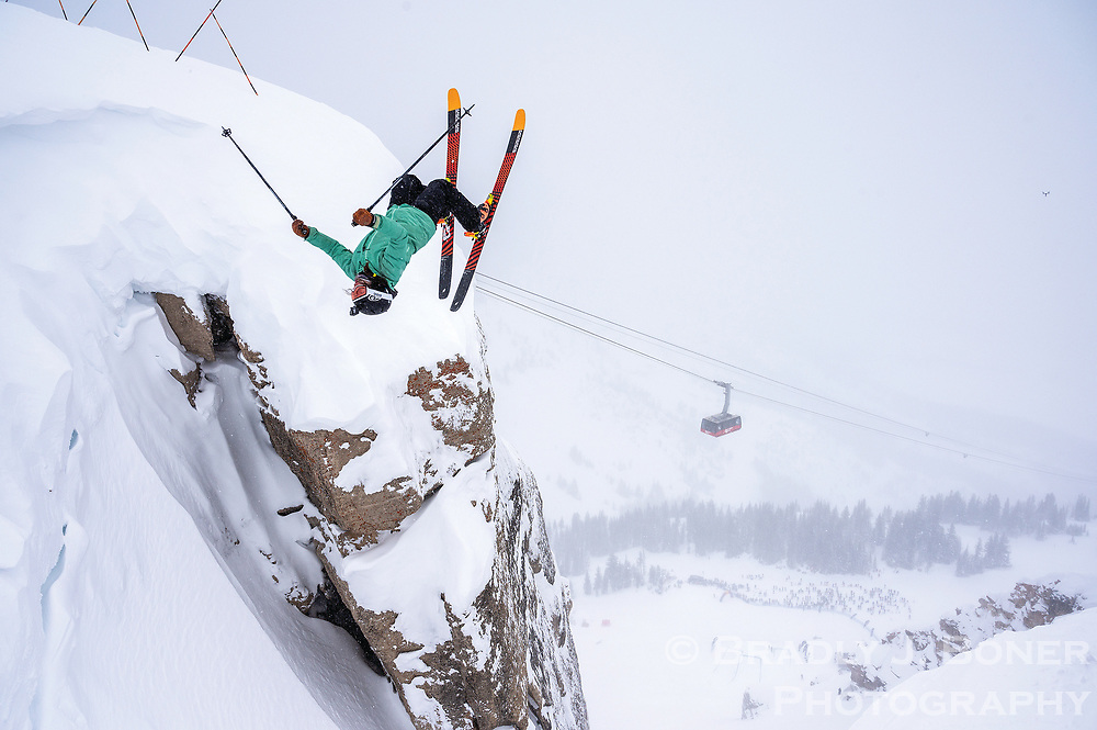 Veronica Paulsen backflips into Corbet's Couloir while competing in the 2021 Kings and Queens of Corbet's Couloir event Thursday at Jackson Hole Mountain Resort.