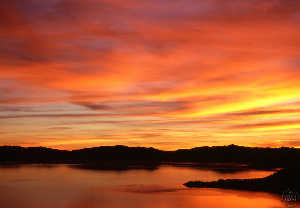 """""""Sunset at Lake Tahoe 2""""- This sunset was photographed at Lake Tahoe, off of Mount Rose Hwy (431), facing southwest.<br /> Photographed: December 2006"""