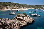 Mallorca, Portals Vells, Yachts in the bay of Portals Vells. 30-07-2018