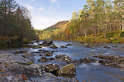 View upstream of the River Affric at Dog Falls in teh Scottish Highlands.