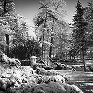 Japanese Garden at Fabyan Forest Presserve after an overnight snow fall.