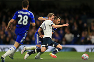Harry Kane of Tottenham Hotspur is challenged by Chelsea capt John Terry. Barclays Premier league match, Chelsea v Tottenham Hotspur at Stamford Bridge in London on Monday 2nd May 2016.<br /> pic by Andrew Orchard, Andrew Orchard sports photography.