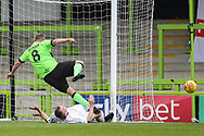 Trevor Horsley XI Gary Probert stops Forest Green Legends Marc McGregor from scoring during the Trevor Horsley Memorial Match held at the New Lawn, Forest Green, United Kingdom on 19 May 2019.