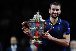 October 30, 2016 - Basel, Basel, Switzerland - Marin Cilic (CRO) holds the trophy after winning the Swiss Indoors at St. Jakobshalle in Basel, Switzerland on October 30, 2016. (Credit Image: © Miroslav Dakov/NurPhoto via ZUMA Press)