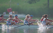 Lucerne, Switzerland. 1995 FISA WC III, Lake Rotsee, Lucerne,<br /> GBR W8+ . left to right, Bow XXXXX, Alison GILL, Dot BLACKIE, Cath BISHOP <br /> [Mandatory Credit. Peter SPURRIER/Intersport Images]<br /> <br /> Image scanned from Colour Negative