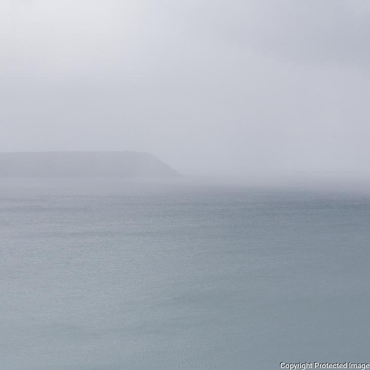Dodman Point in rain, Cornwall.