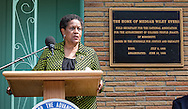 Myrlie Evers-Williams speaks at a ceremony honoring Medgar Evers in front of their former home where he was killed 50 years ago.