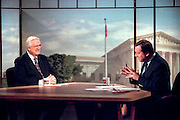 Rep. Henry Hyde, chairman of the House Judiciary committee discusses the upcoming impeachment hearings against President Clinton with host Tim Russert during NBC's ''Meet the Press'' October 4, 1998 in Washington, DC.