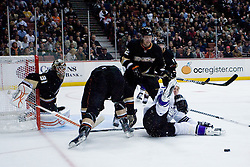 Ryan Smith (Los Angeles Kings, #94) falls on the ice during ice-hockey match between Anaheim Ducks and Los Angeles Kings in NHL league, Februar 23, 2011 at Honda Center, Anaheim, USA. (Photo By Matic Klansek Velej / Sportida.com)