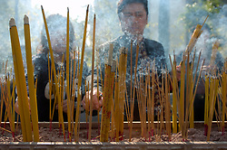 Incense sticks burning at Wong Tai Sin Temple in Hong Kong