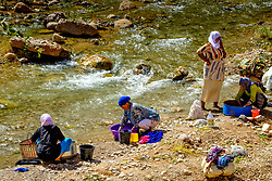 Women washing clothes in the Todra River, Morocco<br /> <br /> (c) Andrew Wilson   Edinburgh Elite media