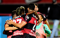 SAO PAULO, BRAZIL - FEBRUARY 25: Bruno Henrique of CR Flamengo celebrates with his teams mates after scoring is goal ,during  a Brasileirao Serie A 2020 match between Sao Paulo FC and CR Flamengo at Morumbi Stadium on February 25, 2021 in Sao Paulo, Brazil. (Photo by MB Media/BPA)